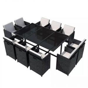 VidaXL Spisebordssæt i 11 dele med hynder