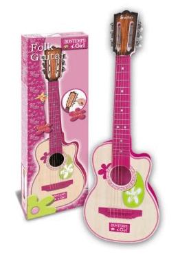 Bontempi, lille børneguitar i træ, 70 cm, pink - børneguitar med realistisk lyd og tuner
