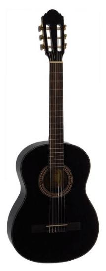 Santana B7 BK v2 børne spansk-guitar sort - en god begynderguitar med monteret remholder